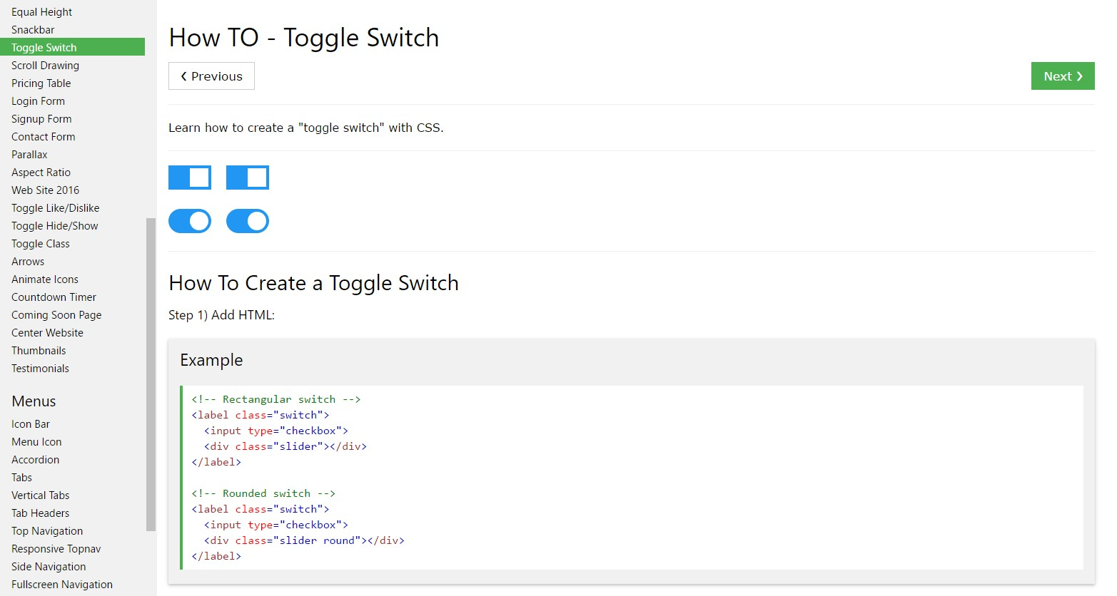 How you can  provide Toggle Switch